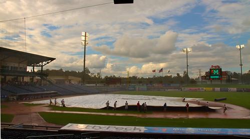 field rain downpour tarp groundcrew mississippibraves pearlmississippi trustmarkpark