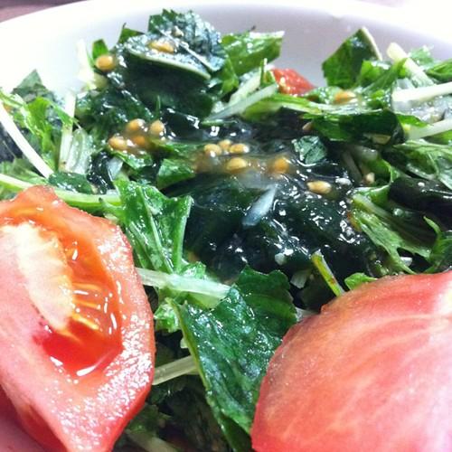 今日のサラダ(モロヘイヤと水菜)#dinner