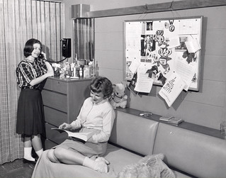 Two women in room in Holt Dormitory, 1950s