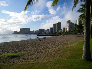 Image of Queen's Surf Beach near Honolulu. beach architecture hawaii surf pacific waikiki oahu tropical honolulu
