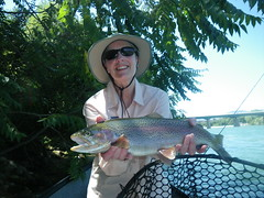 "Becky with her Shasta Trout ""Hawg of Fame"" trophy Lower Sac Rainbow"