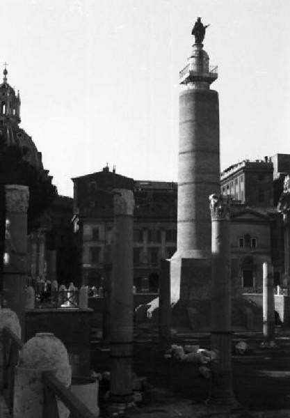 Rome -  Forum & Column of Trajan, the Basilica Ulpia: View of the Col. of  Trajan after the construction in encased protective brickwork (ca. 1944-45?).