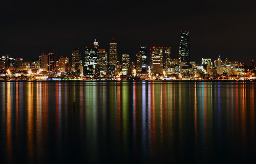 seattle longexposure light reflection colors skyline washington nightscape skyscrapers pacific northwest westseattle pacificnorthwest alkibeach pugetsound downtownseattle