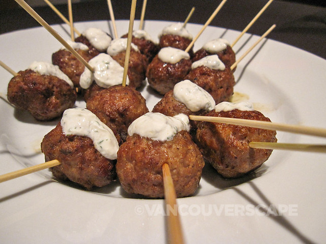 Minted lamb kofka skewers, dill yogurt