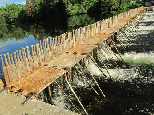 wooden Pin Weir outside the Gite on the Cher river in France.  Private domain to five overseas wooden canoe builders.