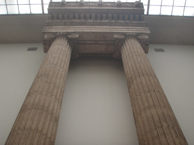 pair of columns with entablature - from Magnesia - the temple of Artemis Leukophryene at Pergamon Museum - Museum Island, Berlin, Germany