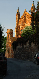 Hereford Cathedral, evening sunlight