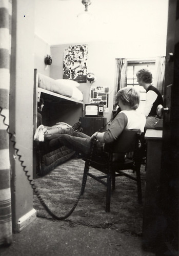 Students in dorm room, 1980s