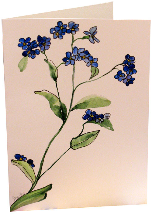 Botanical watercolor hand painted greeting cardss most recent original blue forget me not flower watercolor painting hand painted greeting note cards m4hsunfo