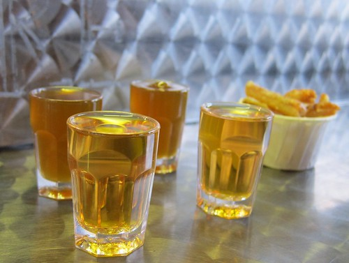 Picklebacks: whisky chased by pickle juice served with pork crackling