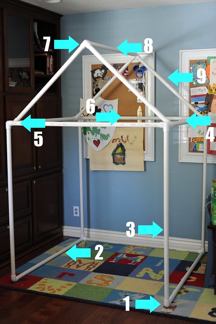 Our pvc pipe fort build angry julie monday for Pvc playhouse kit