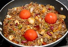 breakfast(0.0), rice(0.0), vegetarian food(0.0), meat(0.0), cereal(0.0), meal(1.0), vegetable(1.0), produce(1.0), food(1.0), dish(1.0), cuisine(1.0), jambalaya(1.0),