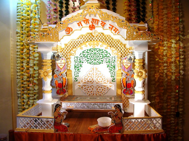 Ganpati decoration 2010 flickr photo sharing for Decorations of ganpati for home