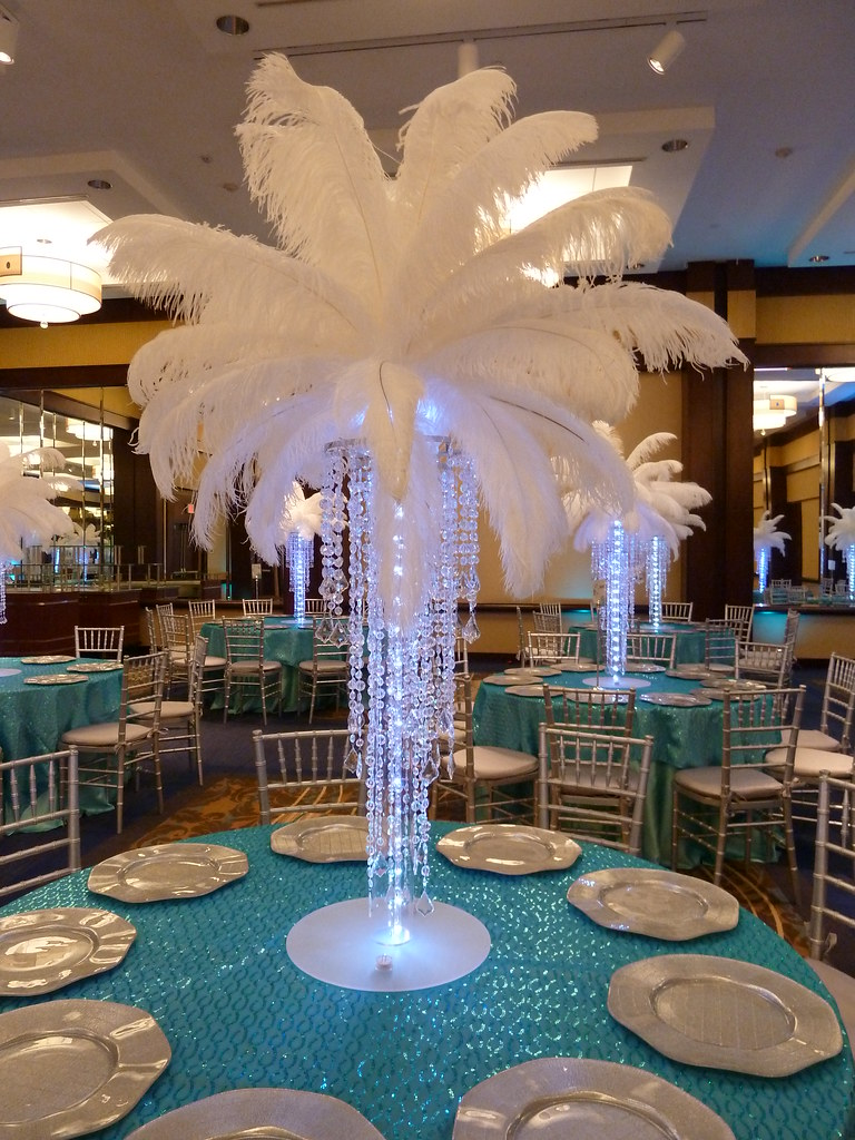Crystal chandelier light up centerpiece with feathers at