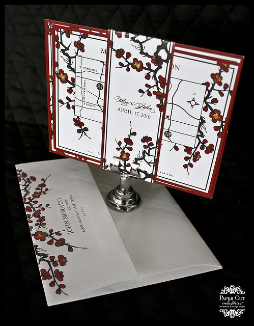 Red & Gold Plum Blossom Invitations