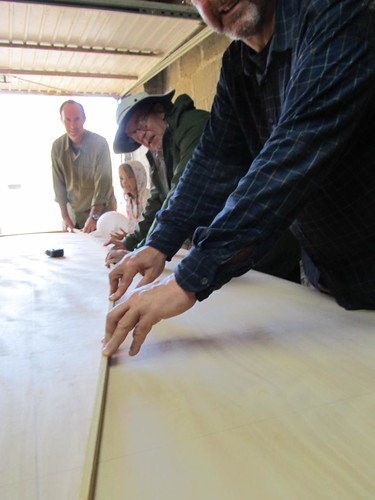 bending a batten to join the reference dots building two plywood Quick Canoes by Storer boat plans.