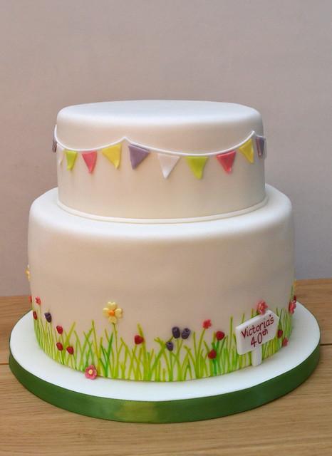 Garden party cake flickr photo sharing for Garden wedding cake designs