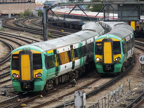 Two class 377s near London Victoria