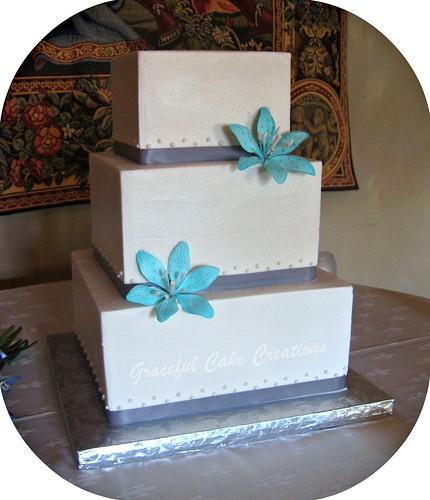 Square Wedding Cake with Stargazer Lilies wedding cake