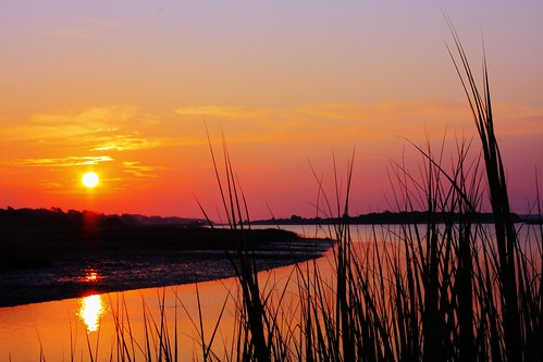 ocean sunset beach water silhouette sunrise canon north carolina isle waterway intracoastal 40d