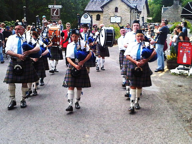 Callander Pipe Band at Killin, Trossachs Region, Scotland