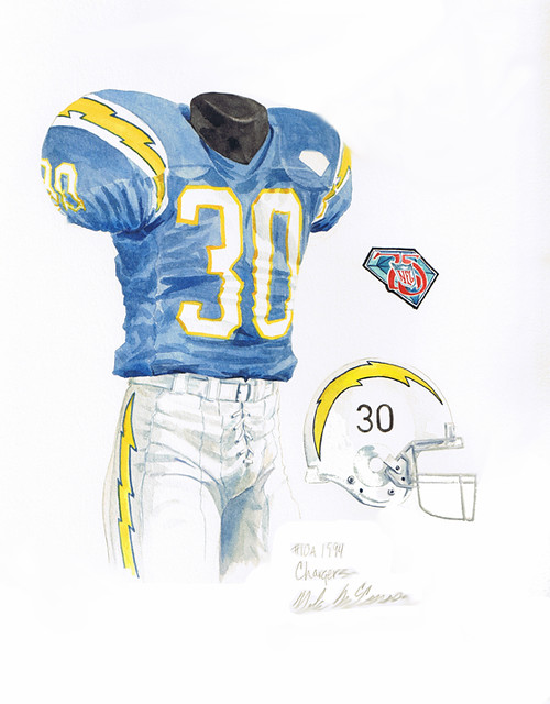 San diego chargers 1994 throwback uniform artwork flickr photo