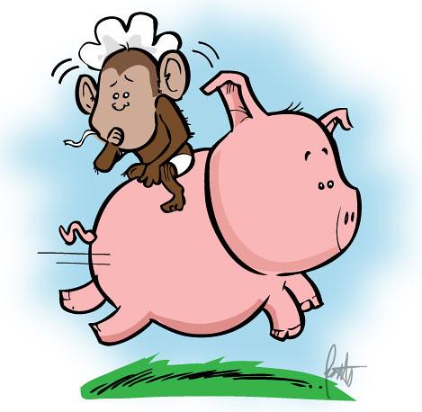 Baby Monkey Riding On A Pig Cartoon