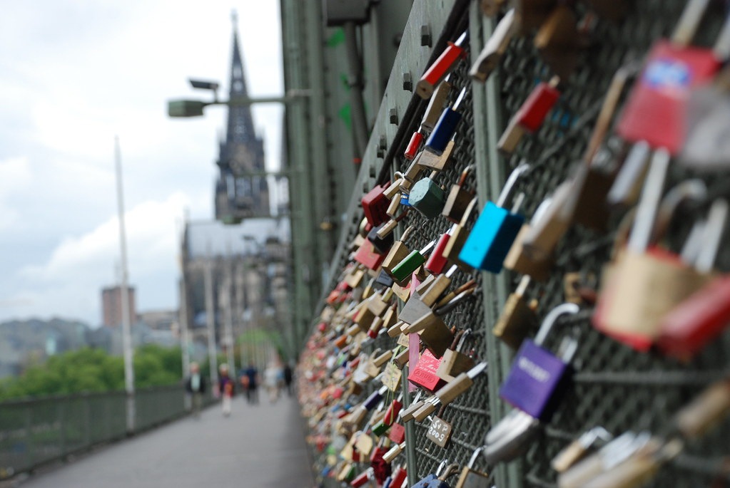 locks on the gate behind the cathedral in Cologne, Germany