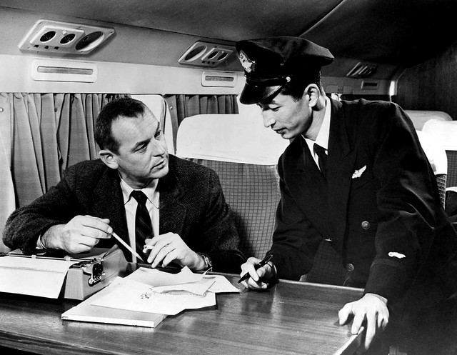 JAPAN AIR LINES -- Japanese Pilot Patiently Asks American Passenger to Turn off His Wireless Typwriter Prior to Landing