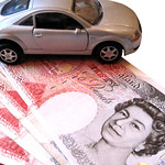 Car with 50 pound notes