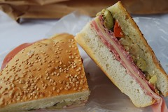 meal(0.0), produce(0.0), breakfast sandwich(0.0), sandwich(1.0), lunch(1.0), breakfast(1.0), ham and cheese sandwich(1.0), muffuletta(1.0), ciabatta(1.0), food(1.0), dish(1.0), cuisine(1.0),
