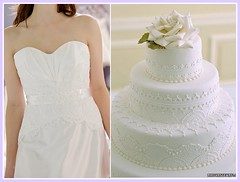 Lace wedding gown, lace cake