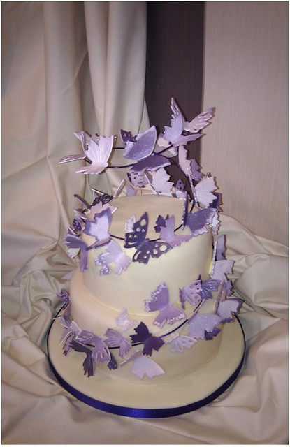 wedding ideas for cakes purple butterfly wedding cake flickr photo 28118