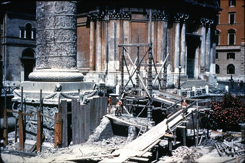 Rome - Forum & Column of Trajan, the Basilica Ulpia: View of the Col. of Trajan during demolition of the encased protective brickwork (ca. 1945-46?).