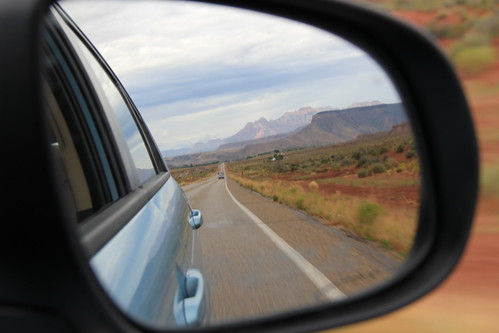 Rear-view mirror of Zion mountains