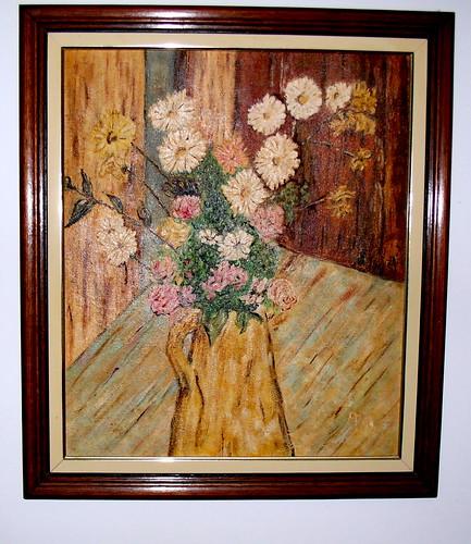 pintura em oleo sobre tela flores
