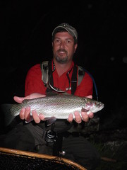 Scott poses his Shasta Trout Hawg of Fame dry fly McCloud River Rainbow