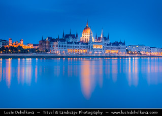 Hungary - Budapest - Twilight over The Hungarian Parliament reflected in Danube River