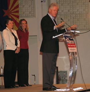 Gov. Janet Napolitano, Congresswoman Gabrielle Giffords and President Bill Clinton