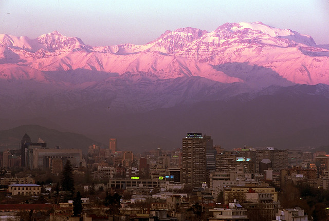 Andes Sunset above Santiago, Chile