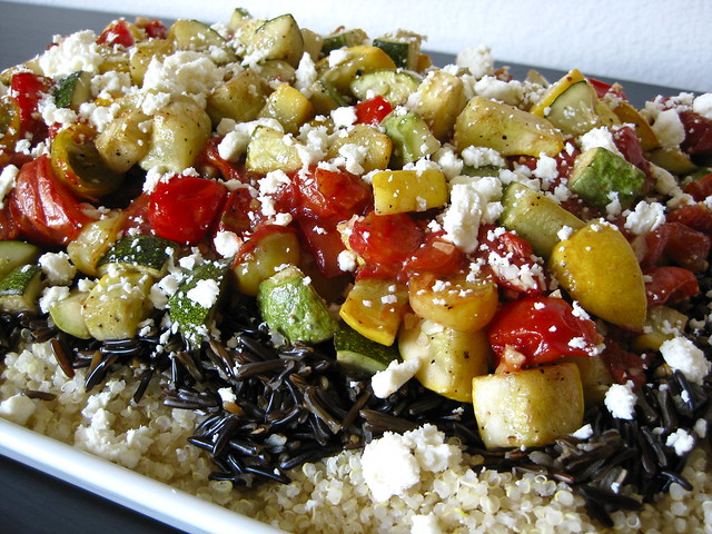 roasted tomato and summer squash pilaf