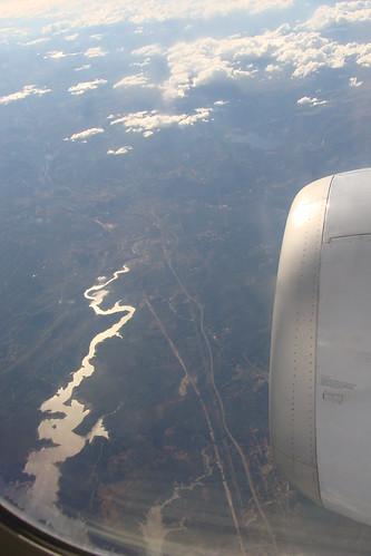Flying over Castelo de Bode's dam, Portugal
