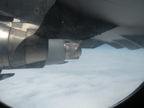 C-17 Inspection window in cargo comparent looking at aft of right wing engines