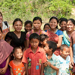 Audrey With Group of Kids in Garo Village - Srimongal, Bangladesh