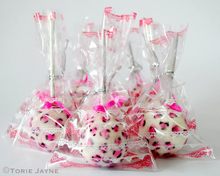 Leopard print cake pops wrapped up