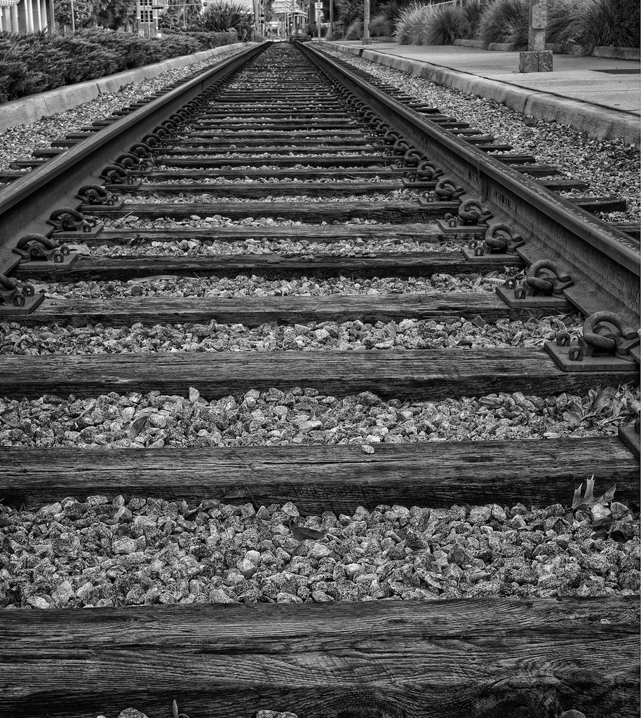 Railroad Tracks Black and White