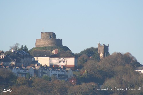 Launceston Castle and the tower of the church of St Mary Magdalene by Stocker Images