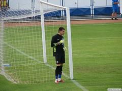 goalkeeper, football player, sport venue, sports, soccer-specific stadium, player, football, net, goal,