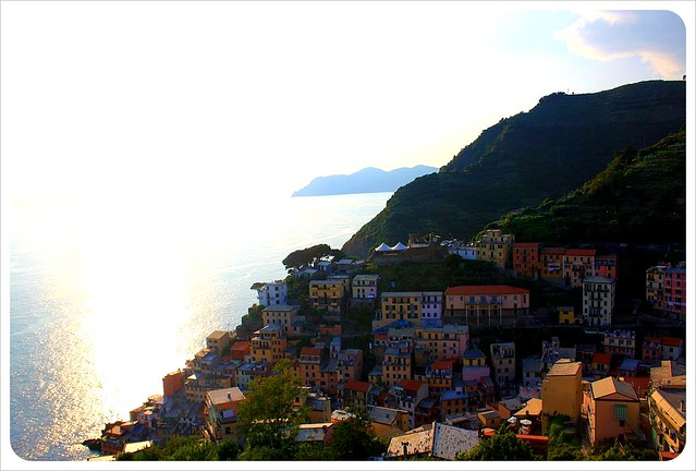 Riomaggiore from above at sunset