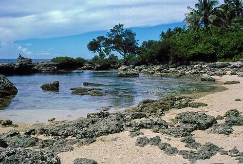 trees sea film beach coral 35mm sand slide diving lagoon palm scanned tropical png kodachrome bismarck papuanewguinea 1985 province holeinthewall oceania melanesia madang thewaterhole melanesian
